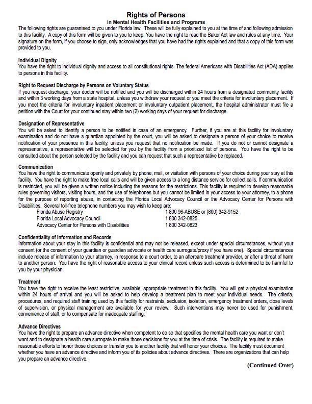 CCHR_FL_Mental Health Patient Rights_2015