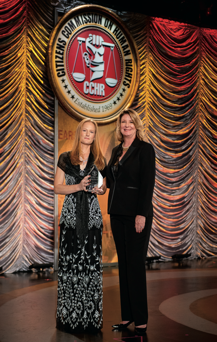 This year's recipient of the prestigious CCHR Humanitarian Award was Orlando attorney Ms. Kendra Parris for her work to protect the rights of Floridians under the Baker Act.