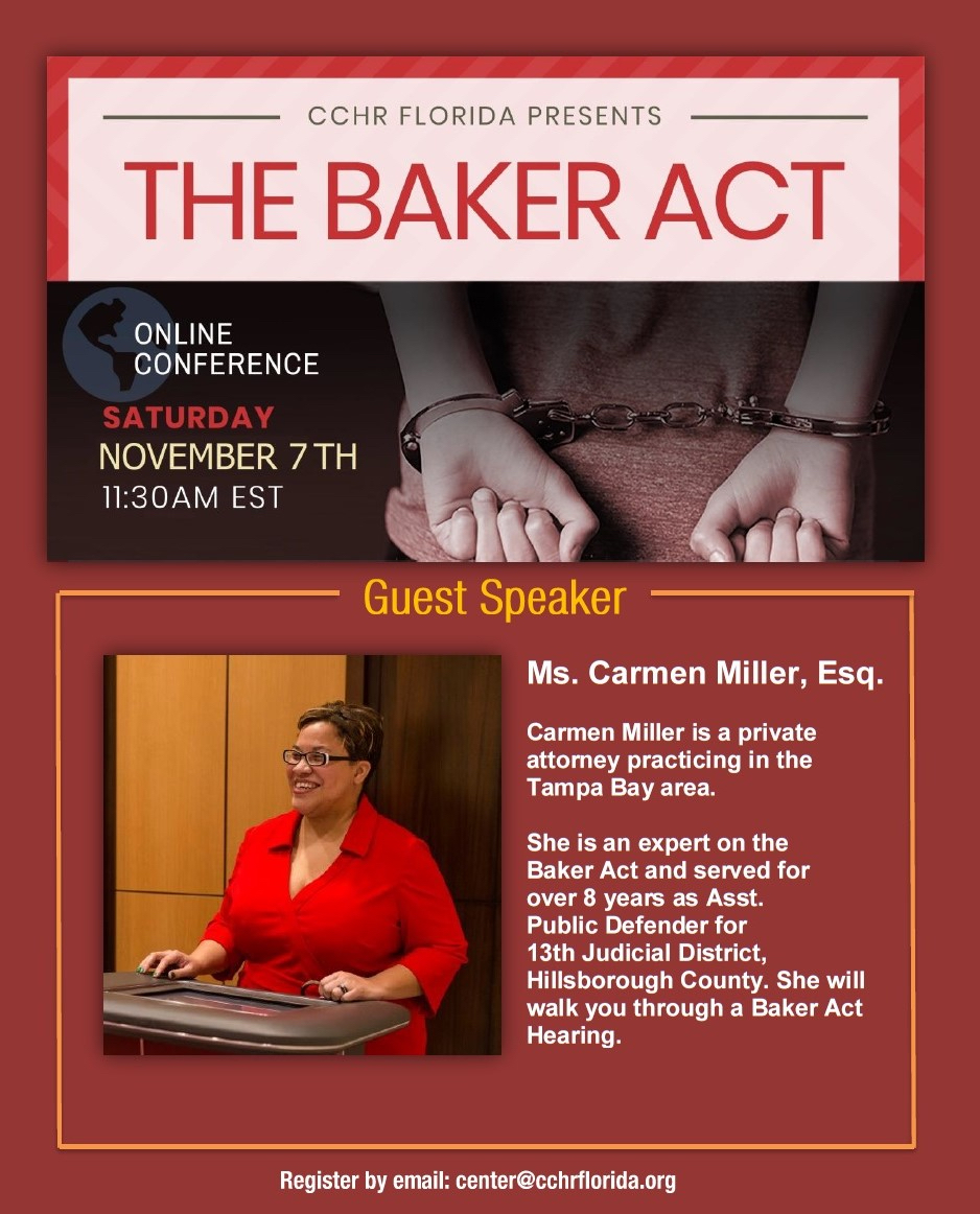 Free Webinar on the Florida Baker Act. Hear from a law expert. Includes Continuing Education Credit for mental health professionals.